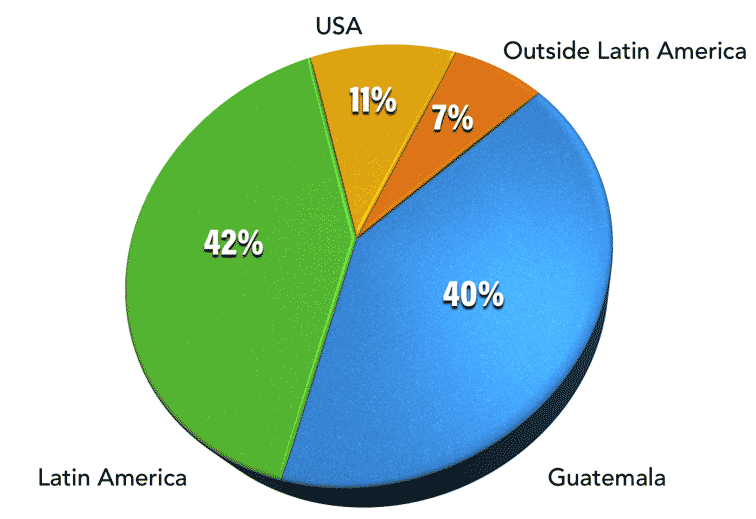 Pie Chart, Guatemala 40%, Latin America 42%, USA 11%, Other countries 7%